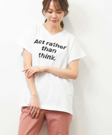 HERENCIA / ''Act rather than think ''プリント イレギュラーヘム Vネック TEE