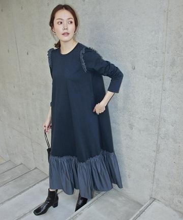 【WEB限定商品】異素材ドッキング長袖カットワンピース