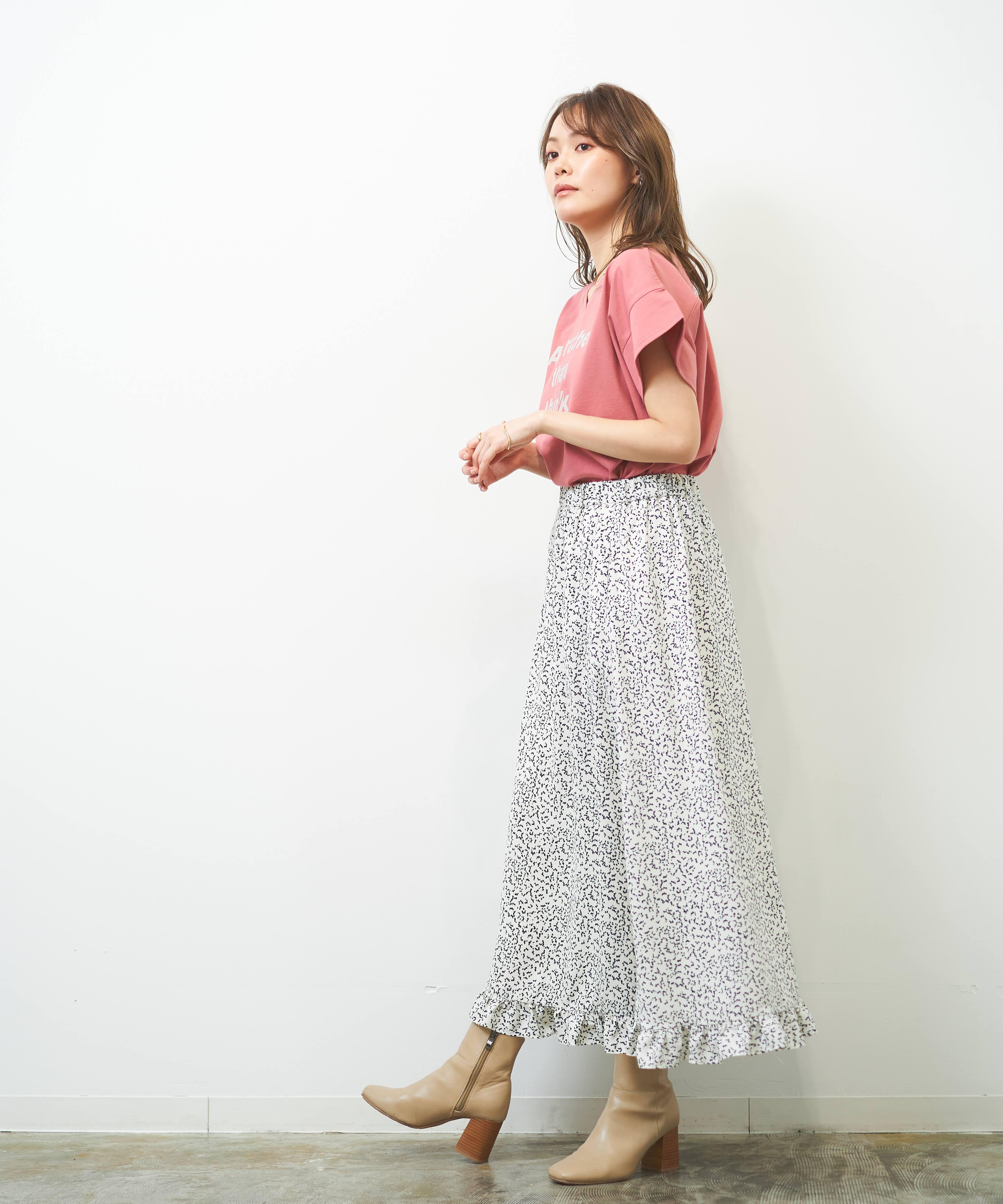 NEW!ランダムドット柄裾フリルロングスカート